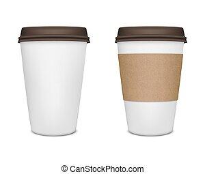 café, papier, ensemble, tasse