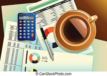 café, papier, sommet, tasse