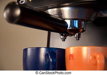 café, pareja, mañana