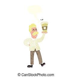 café, parole, retro, tasses, bulle, dessin animé, homme