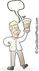 café, parole, tasses, bulle, dessin animé, homme