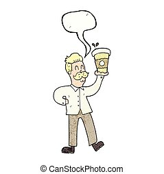 café, parole, textured, tasses, bulle, dessin animé, homme