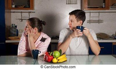 café, petite amie, homme, boire, pourparlers, matin, tasse