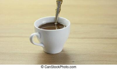 café, petits gâteaux, endroits, met, tasse, main, blanc, tout