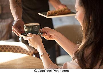 café, photo, haut, tondu, cheveux brun, fin, dame, avoir