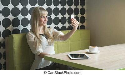 café, photo, selfie, coupure, pendant, confection, girl