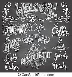 café, pizarra, hand-lettering