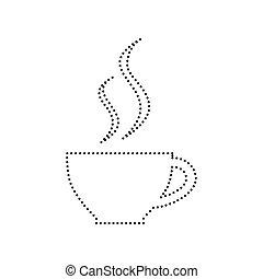 café, pointillé, tasse, isolated., signe., arrière-plan., noir, vector., blanc, icône