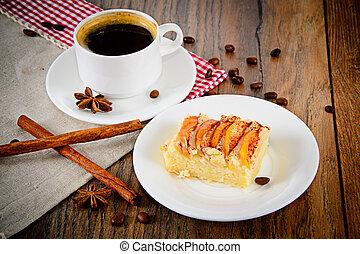 café, pomme, tasse, tarte, boisé, backfround