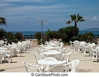 café, praia