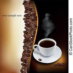 café preto, copo, experiência.