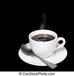 café preto, e, fumaça, em, xícara branca, isolado, cortando, path.