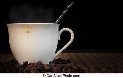 café quente, com, fumaça, sobre, copo