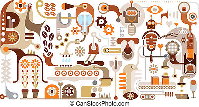 café, résumé, -, usine, vecteur, il