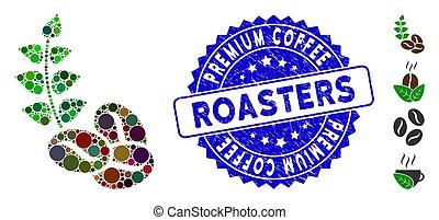 café, rôtisseurs, organique, mosaïque, haricots, prime, icône, timbre, détresse