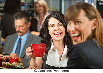 café, reír, mujeres