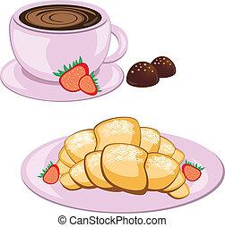 café, redondo, croissant, jarra
