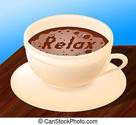 café, relaxe, indica, alívio, relaxamento, café