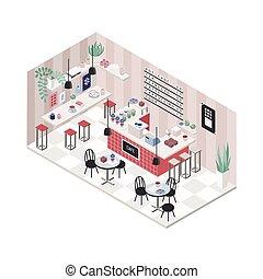 café-restaurant, coloré, restaurant, sommet, moderne, isométrique, café, intérieur, vue., style., illustration