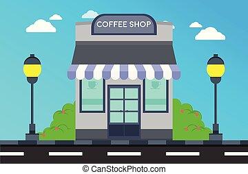 café-restaurant, façade, magasin, moderne, extérieur, illustration, bâtiment., bâtiments