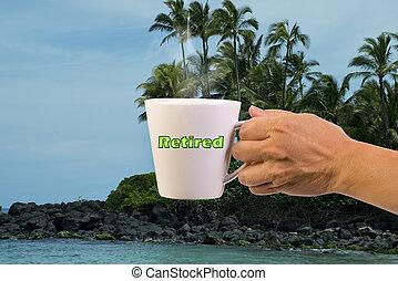 café, retiré, time.