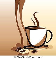 café, retro, fundo, copo