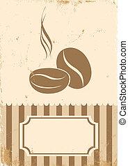 café, retro, ilustración