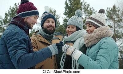 café, rire, dehors, jeunesse, tasses, togo, hiver, tintement...