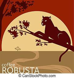 café, robusta, conception, paquet, étiquette