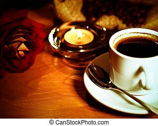 café, rose, tasse, retro, fond, bougies