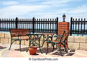 café, rua, praia