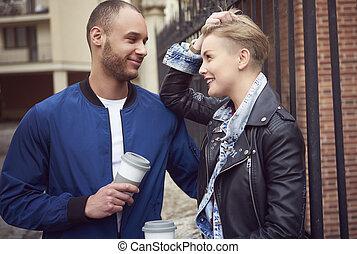 café, rues, boire, couple