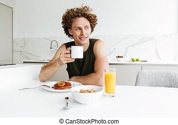 café, séance, beau, boire, cuisine, homme