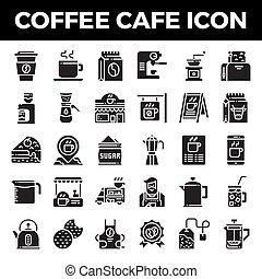 café, sólido, café, ícones