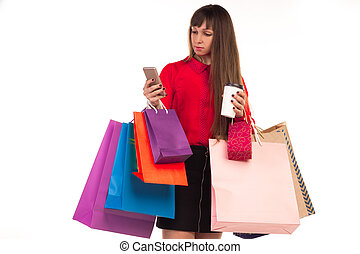 café, sacs provisions, carte de débit, verre, papier, téléphone, girl
