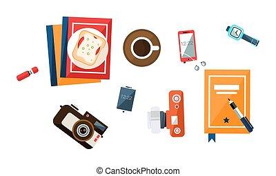 café, sanduíche, freelancer, escritório, copo, topo, flash, ilustração, relógio, conduzir, vetorial, câmera, trabalhador, homem negócios, escrivaninha, vista, pulso, caderno, smartphone, local trabalho
