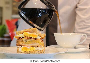café, sanduíche, ovo