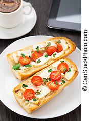 café, sanduíche, vegetariano, escritório, breakfast.