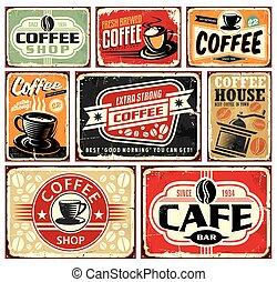 café, señales, y, etiquetas, colección