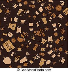 café, seamless., padrão, vetorial, fundo, ícone