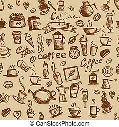café, seamless, temps, conception, fond, ton