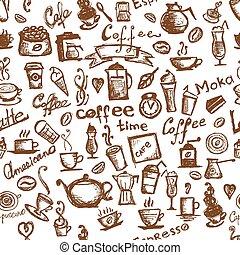 café, seamless, tiempo, diseño, plano de fondo, su