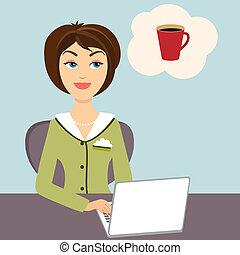 café, secretária, quentes, assalte