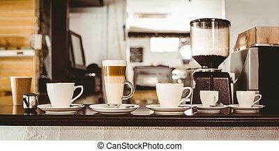 café, selección, mostrador