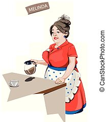 café, servindo, mulher, vetorial, caráteres, caricatura, garçonete