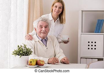 café, servindo, neta, avô