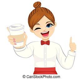 café, servir, cligner, serveuse, plat à emporter