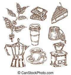 café, set., bosquejo, ilustración, mano, vector, dibujado, ...
