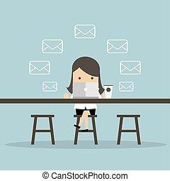 café, shop., femme affaires, messages, email, chèque