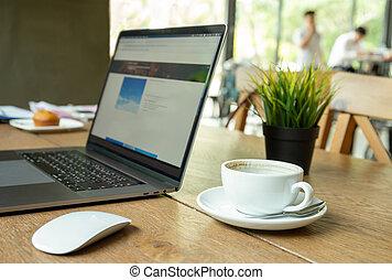 café, shop., ordinateur portable, tasse, coffe, informatique, table, souris